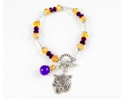 Tiger Charm Purple & Gold Crystal Silver Plate Bracelet