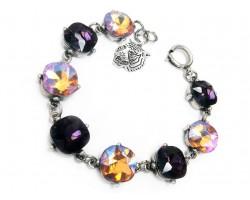 Purple Gold Crystal Cabochon Tiger Bracelet