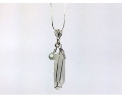Quartz Crystal Wire Wrap Fresh Water Pearl Necklace