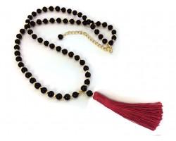 Red Tassel Black Bead Necklace