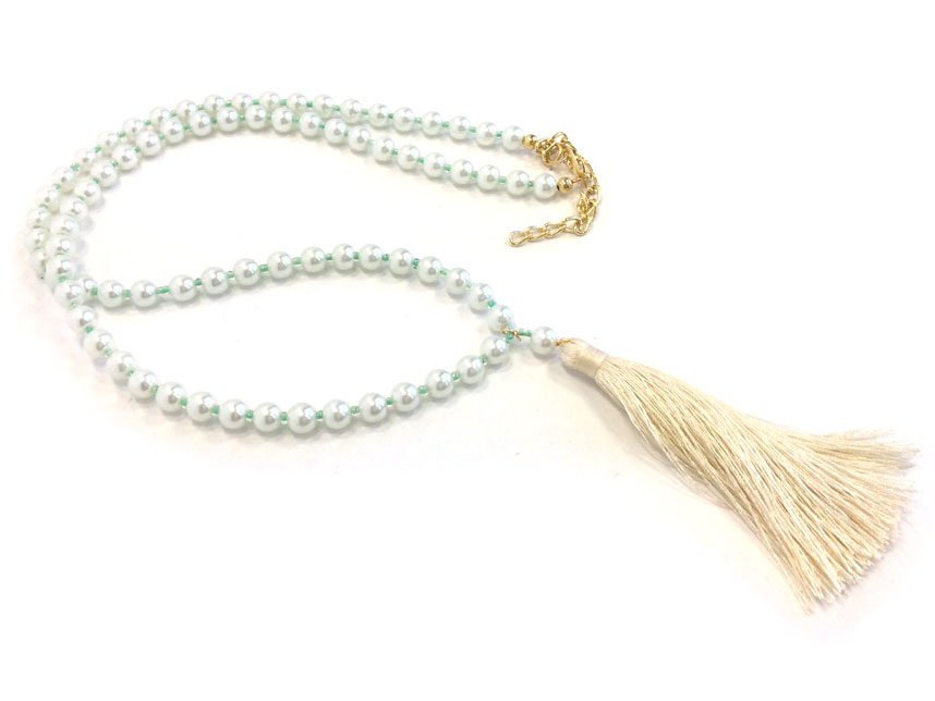 Unique Off White Seed Bead Pearl Tassel Necklace PY81