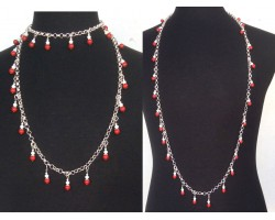 Maroon White Pearl Crystal Charm Chain Necklace