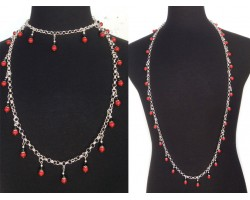 Red Black Pearl Crystal Charm Chain Necklace