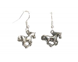 Silver Galloping Horse Charm Hook Earrings