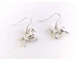 Silver Running Horse Charm Hook Earrings