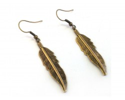 Gold Etched Feather Hook Earrings