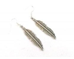 Silver Etched Feather Hook Earrings