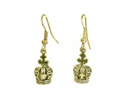 Gold Small Crown Charm Hook Earrings