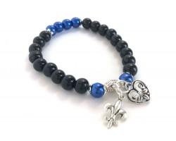 Blue Black Bead Heart Charm Stretch Bracelet