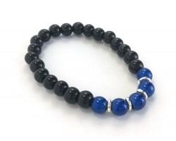 Blue Black 5 Bead Stretch Bracelet