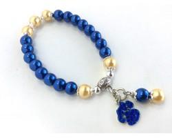Blue Gold Pearl Paw Print Charm Stretch Bracelet