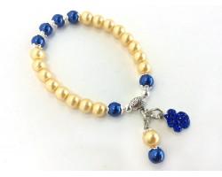 Gold Blue Pearl Paw Print Charm Stretch Bracelet