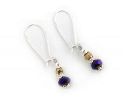 Purple Gold Crystal Kidney Wire Earrings