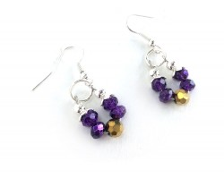 Purple Gold Crystal Loop Hook Earrings