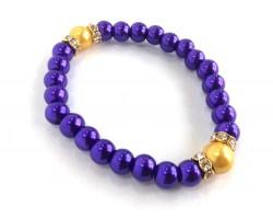 Purple Gold Pearl Crystal Rondels Stretch Bracelet