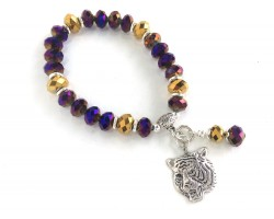 Purple Gold Crystal Tiger Stretch Charm Bracelet