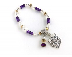 Purple Gold Silver Stretch Tiger Charm Bracelet