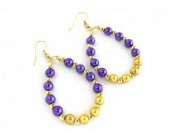 Purple Gold Pearl Teardrop Gold Hook Earrings