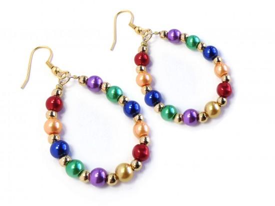 Multi Pearl Teardrop Gold Hook Earrings