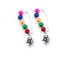 Multi Colored Pearl Bead Flower Loop Earrings