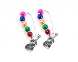 Multi Colored Pearl Bead Guitar Loop Earrings