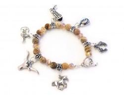 Brown Stone Western Theme Charm Stretch Bracelet