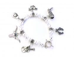 Pearl White Western Theme Charm Stretch Bracelet