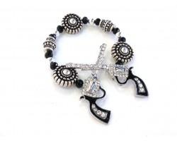 Silver Crystal Crossed Pistols Stretch Bracelet