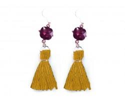 Gold Tassel Purple Crystal Silver Hook Earrings