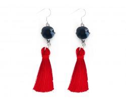 Red Tassel Black Crystal Silver Hook Earrings