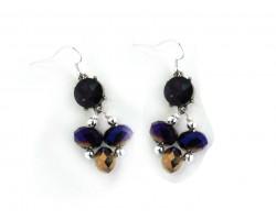 Purple Gold Crystal Fleur De Lis Hook Earrings