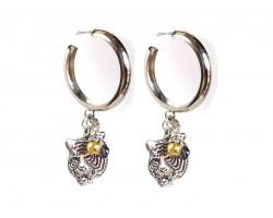 Purple Gold Tiger Hoop Post Silver Earrings