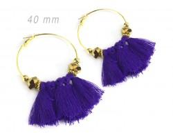 Purple Tassel Crystal Gold Hoop Earrings