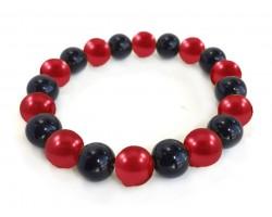 Red Black Pearl Bead Mix Stretch Bracelet