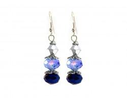 Blue Silver Crystal Dangle Hook Earring