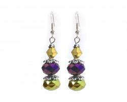 Purple Gold Crystal Dangle Hook Earring