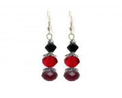 Red Black Crystal Dangle Hook Earring