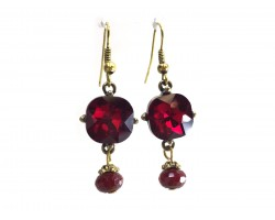 Red Square Crystal Gold Dangle Hook Earrings