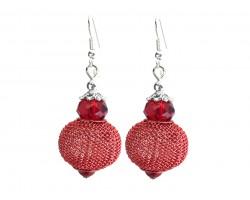 Red Crystal Mesh Wire Bead Hook Earrings