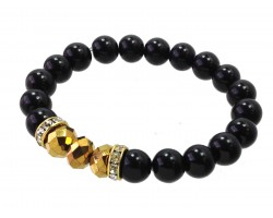 Black Pearl Gold Crystal Stretch Bracelets