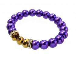Purple Pearl Gold Crystal Stretch Bracelets