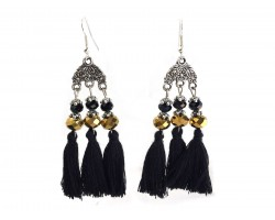 Black Gold Chandelier Crystal Tassel Hook Earrings