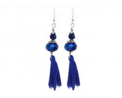 Blue Tassel Crystal Hook Earrings