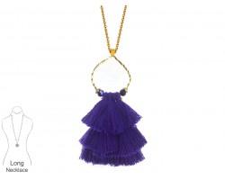 Purple Tassel Cascade Gold Loop Necklace