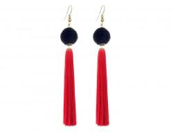 Red Black Tassell Thread Wrap Bead Hook Earrings