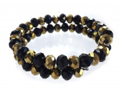 Black Gold Crystal Alternate Memory Wire Coil Bracelet