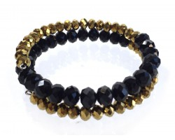 Black Gold Crystal Bead Memory Wire Coil Bracelet