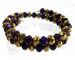 Purple Gold Crystal Alternate Memory Wire Coil Bracelet