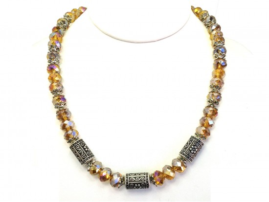 Topaz Crystal Filigree Barrel Bead Necklace