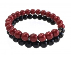 Red Black Pearl Memory Wire Coil Bracelet